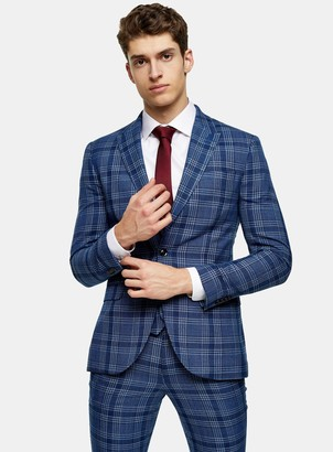 Topman Blue Check Skinny Fit Single Breasted Suit Blazer With Peak Lapels