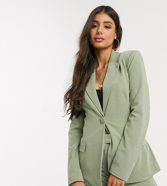 4th + Reckless Tall exclusive tie front blazer in sage