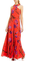 David Meister Floral Chiffon Cross-Neck Halter Gown