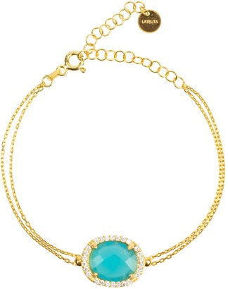Latelita Beatrice Oval Gemstone Bracelet Gold Dark Blue Chalcedony