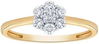 10K White Gold 1/4 Carat T.W. Diamond Cluster Engagement Ring