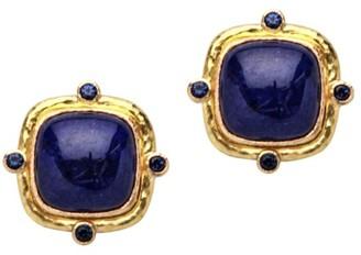 Elizabeth Locke 19K Yellow Gold, Lapis & Blue Sapphire Stud Earrings