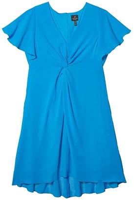 Adrianna Papell Plus Size Twist Front Gauzy Crepe Dress (Electric Blue) Women's Dress