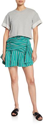 Derek Lam 10 Crosby 2-in-1 Striped Tie-Waist Dress w/ Sweatshirt