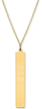 """Sarah Chloe Diamond Accent Mom Bar Pendant Necklace in 14k Gold over Silver, 16"""" + 2"""" extender (also available in Sterling Silver)"""