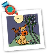 3dRose LLC All Smiles Art Dogs - Fun Terrier Puppy Dog by Dog Biscuit Tree Folk Art - Quilt Squares - (qs_200560_4)