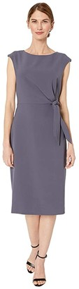 Tahari ASL Petite Side Tie Stretch Crepe Shift Dress (Navy) Women's Dress