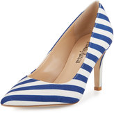 Neiman Marcus Cissy Striped Leather Point-Toe Pump, Blue/White