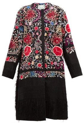 By Walid Tanita Piano Shawl Floral-embroidered Silk Coat - Black Multi