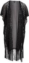 Lvs Collections LVS Collections Women's Kimono Cardigans BLACK - Black Circle Fringe-Accent Crochet Kimono - Women