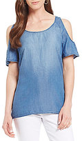 KUT from the Kloth Carolina Solid Tie-Back Cold-Shoulder Top