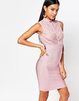 Wow Couture High Neck Bandage Bodycon Dress With Sheer Lace Bodice