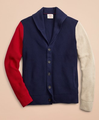 Brooks Brothers Color-Block Shawl Collar Cardigan Sweater
