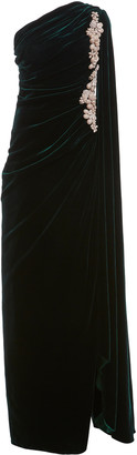 Costarellos Edwina Bead-Embellished Ruched Silk Velvet One-Shoulder Gown