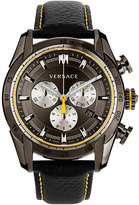 Versace 44mm Men's V-Ray Chronograph Watch w/ Leather Strap, Gray