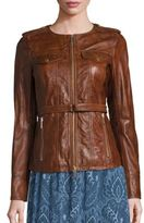 MICHAEL Michael Kors Belted Leather Jacket