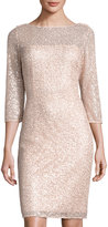 Kay Unger New York Sequined Lace-Overlay Sheath Dress, Pink