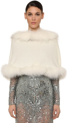 Elie Saab Hooded Wool & Cashmere Cape W/ Fur