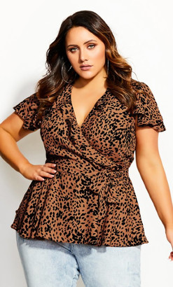 City Chic Lady Leopard Top - rust