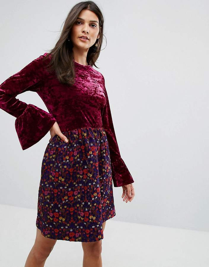 Anna Sui Crushed Velvet Dress with Jaqcuard Floral Skirt