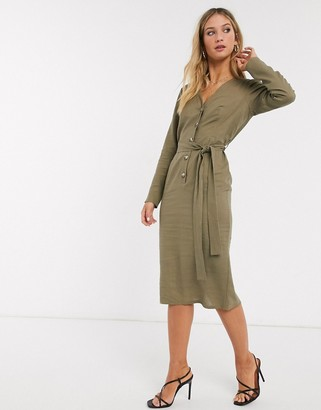 ASOS DESIGN button through linen midi dress with self belt in khaki