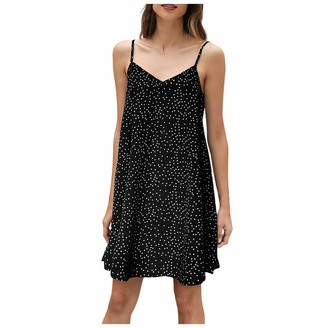 LAIYIFA Midi Dresses for Women Summer V Neck Polka Dot Floral Print A-Line Casual Sleeveless Maxi Dresses Sexy Sling UK Ladies Skirt Best Girlsfriends Black