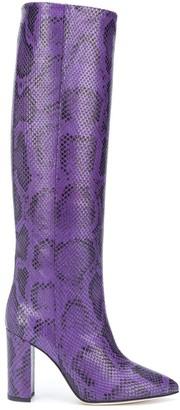 Paris Texas Snakeskin-Effect Knee-High Boots