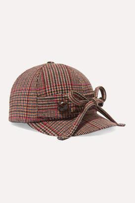 Miu Miu Checked Wool-blend Tweed Cap - Red