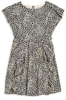 BCBGMAXAZRIA Girls' Leopard Print Ruffled Crepe Dress -Big Kid