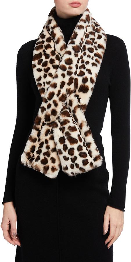 Belle Fare Leopard-Print Faux-Fur Pull-Through Scarf