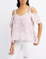 Charlotte Russe Paisley Ruffle Cold Shoulder Top