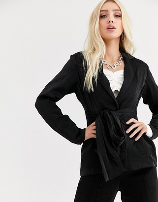 UNIQUE21 relazed blazer with tie waist in shimmer co-ord