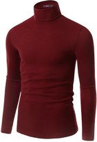 Doublju Mens Long Sleeve Turtle Neck Sweater, Red, S