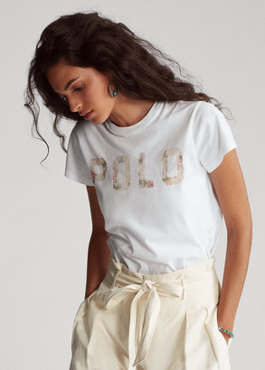 Ralph Lauren Sequined Logo Cotton Tee