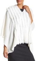 In Cashmere Genuine Rabbit Fur Wool Blend Cape