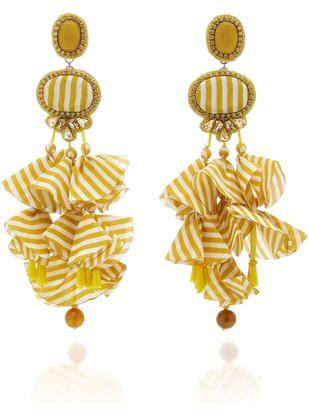 Ranjana Khan Gingham 14K Gold-Plated Crystal and Resin Earrings
