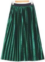 Melory Women's Vintage High Waist Velvet Pleated A-line Midi Skirt