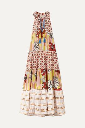 BEIGE Anjuna - Tiered Metallic-trimmed Printed Cotton-blend Voile Maxi Dress