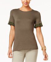 MICHAEL Michael Kors Pleated-Trim T-Shirt