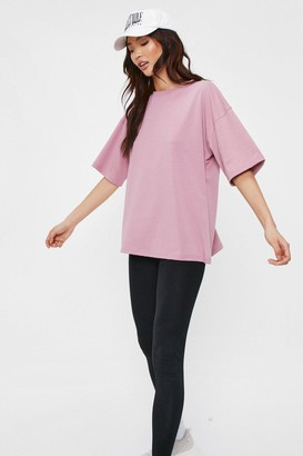 Nasty Gal Womens Work It Out Oversized Crew Neck Tee - Dusky Pink