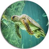 Design Art Usa Huge Turtle Swimming, Animal Digital Art Large Disc Metal Wall Art, 23