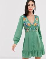 Asos DESIGN embroidered casual button through mini dress