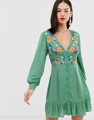 Asos Design DESIGN embroidered casual button through mini dress-Green