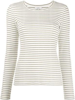Vince Long Sleeve Striped Print Top