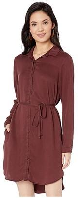 Bella Dahl Shirtdress in Satin Tencera (Merlot) Women's Clothing