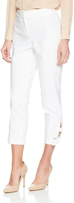 Nine West Women's White Double Weave Pant with TIE Ankle Detail