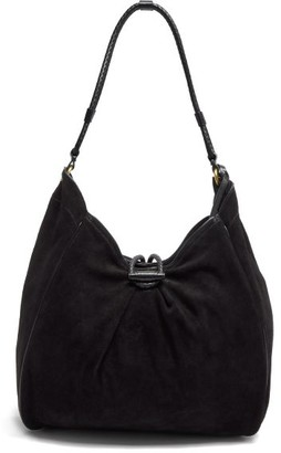 Isabel Marant Soyat Leather-trim Suede Shoulder Bag - Black