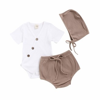 Oksea Newborn Infant Baby Boys Girls Romper Shorts Outfits Solid Bodysuit Romper+Striped Shorts Hat Outfits Set White