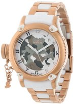 Invicta Women's 11527 Russian Diver Grey and Brown Camouflage Dial 18k Rose Gold Ion-Plated Stainless Steel Watch