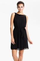 Calvin Klein Sequin Neck Pleated Chiffon Dress